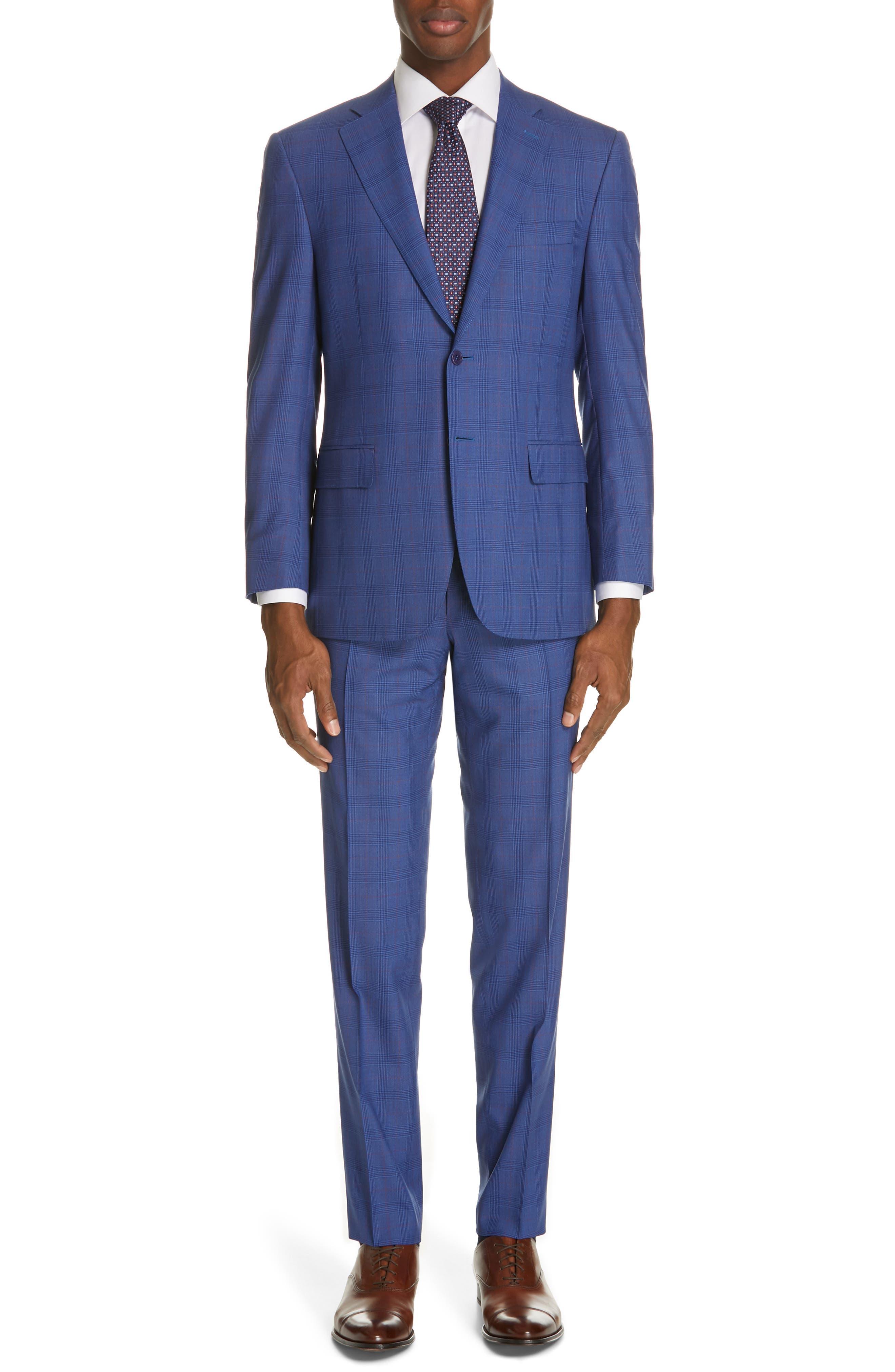 Siena Classic Fit Deco Plaid Super 130s Wool Suit, Main, color, BLUE