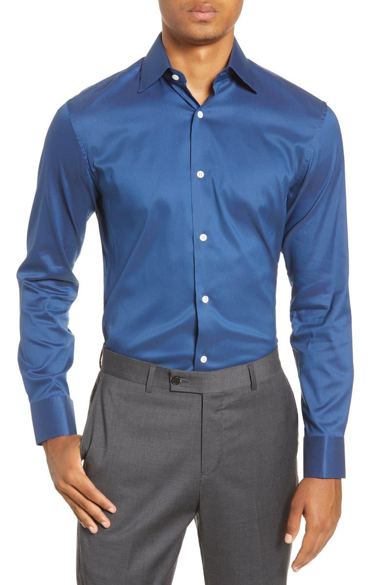 BONOBOS Slim Fit Stretch Dress Shirt, Main, color, COLOR SOLID - NAVY BEATS