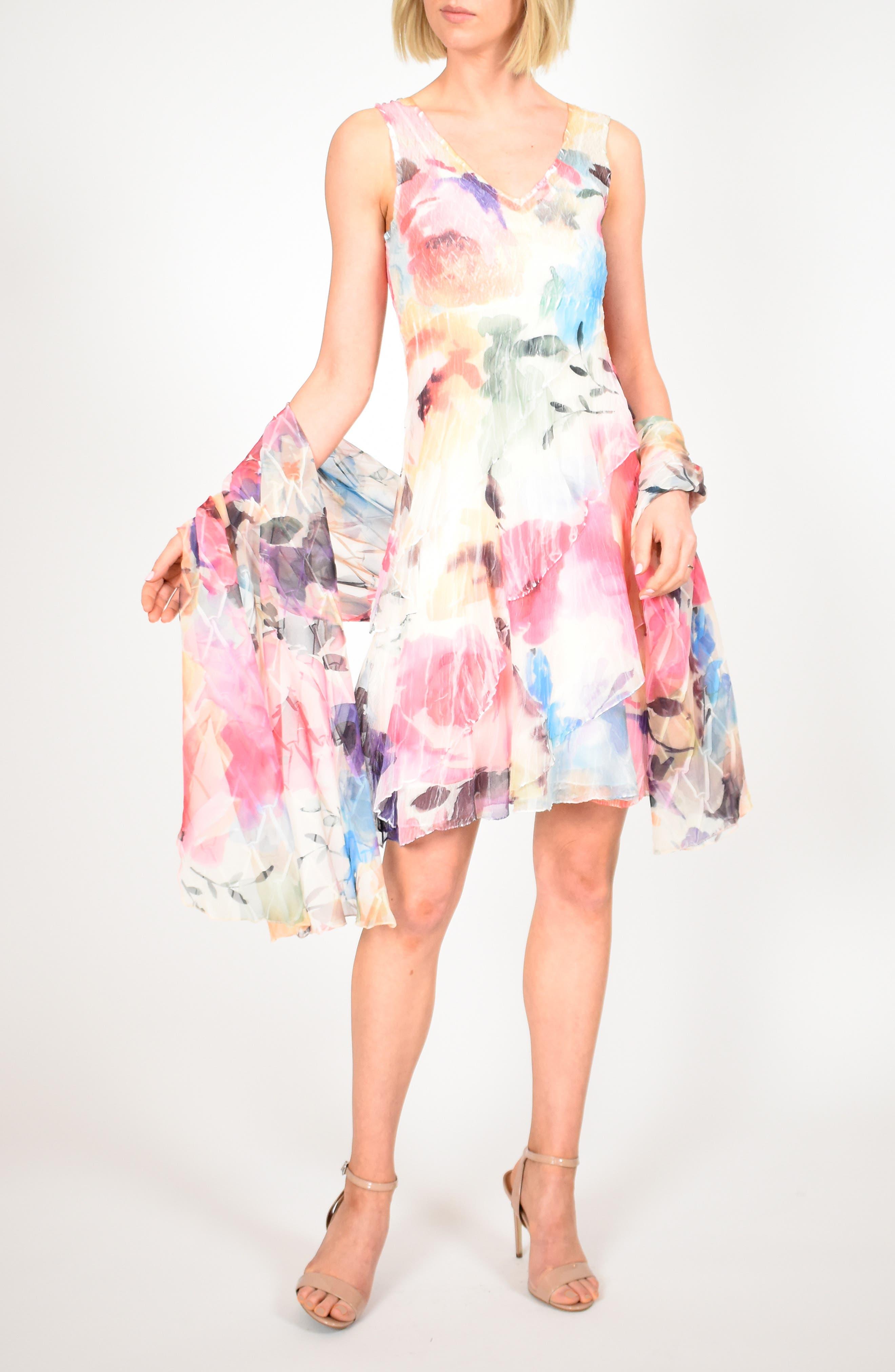 Komarov Tiered Chiffon Dress With Shawl, Pink