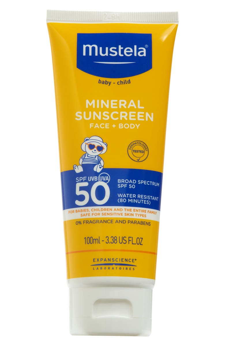 MUSTELA<SUP>®</SUP> SPF 50+ Mineral Sunscreen for Face & Body, Main, color, YELLOW