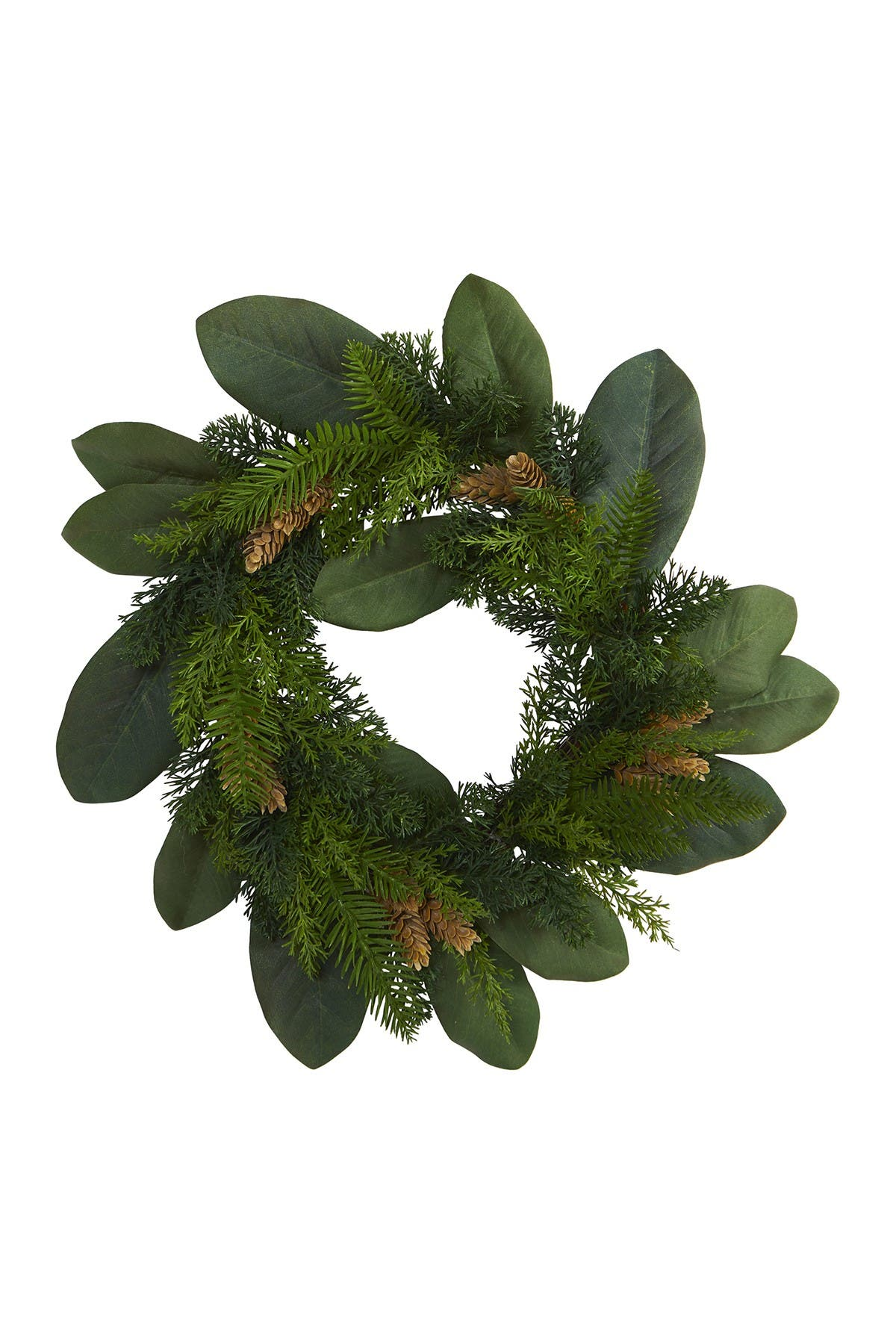 "Image of NEARLY NATURAL 16"" Magnolia Leaf, Mixed Pine, & Pinecones Artificial Wreath"