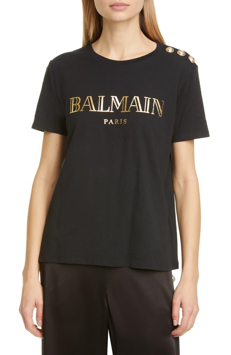 BALMAIN Vintage Logo Cotton T-Shirt, Main, color, NOIR/ OR