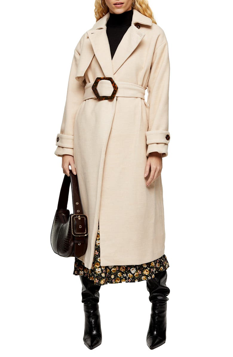 Marsha Longline Belted Coat by Topshop