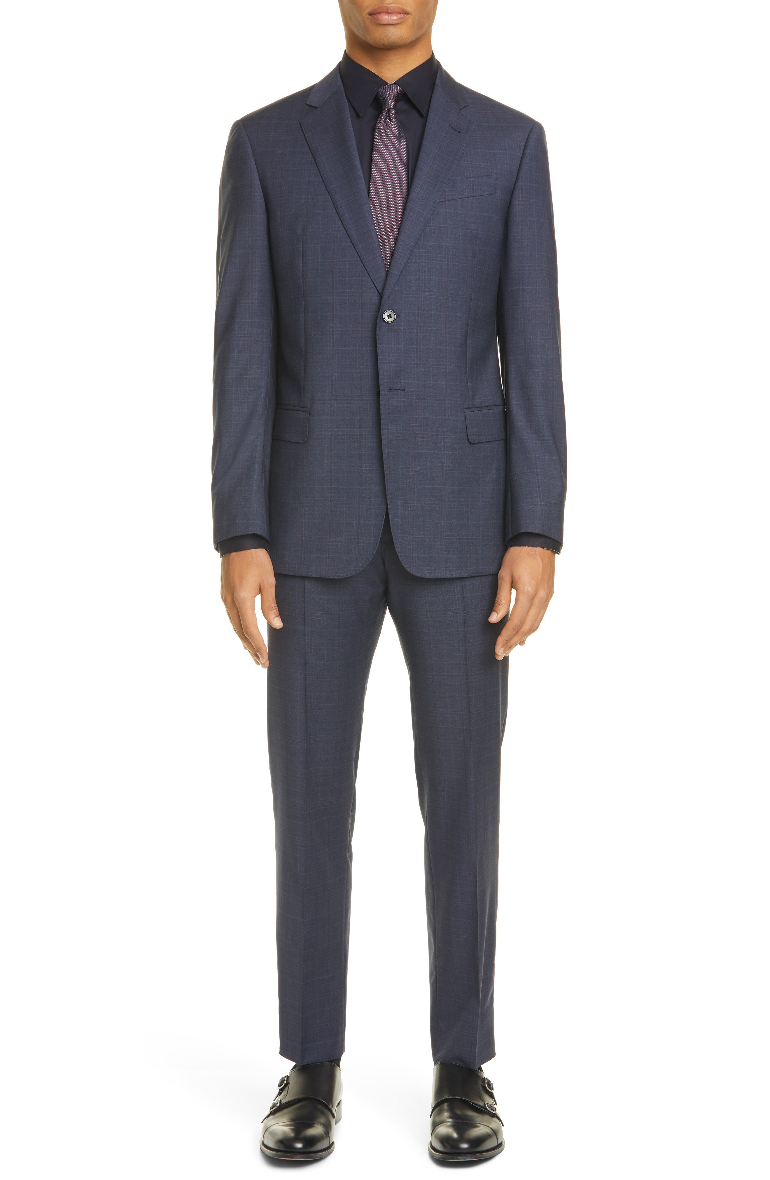 Image of Emporio Armani G Line Trim Fit Plaid Wool Suit