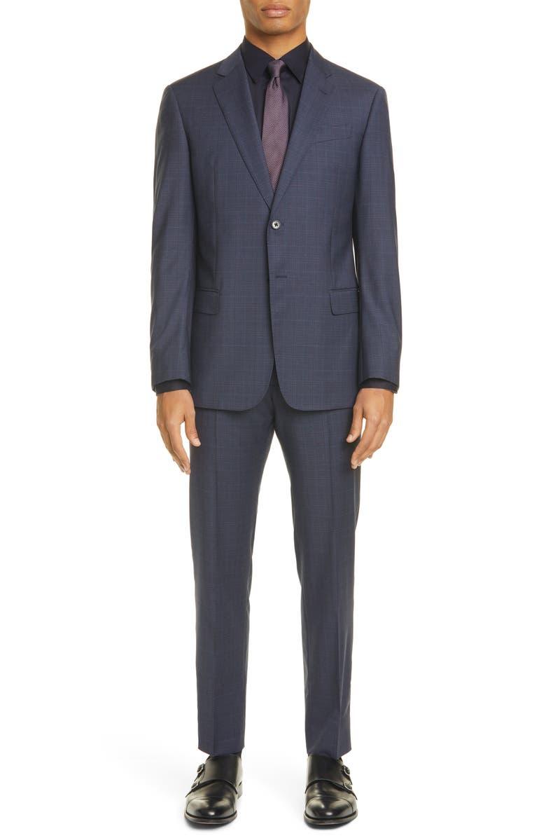 EMPORIO ARMANI G Line Trim Fit Plaid Wool Suit, Main, color, NAVY