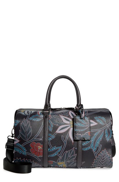 Ted Baker Steady Faux Leather Duffle Bag In Navy