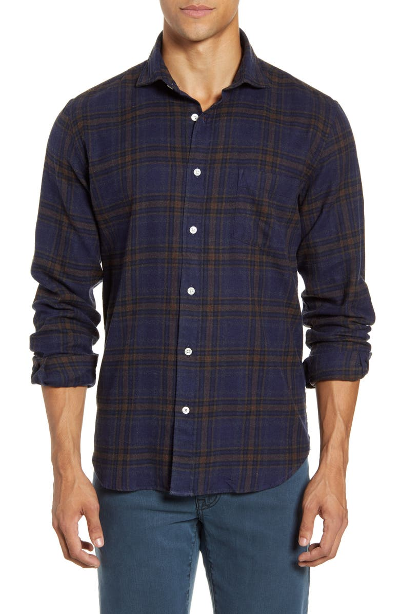 HARTFORD Paul Regular Fit Plaid Button-Up Flannel Shirt, Main, color, BROWN RED ON BLUE PLAID