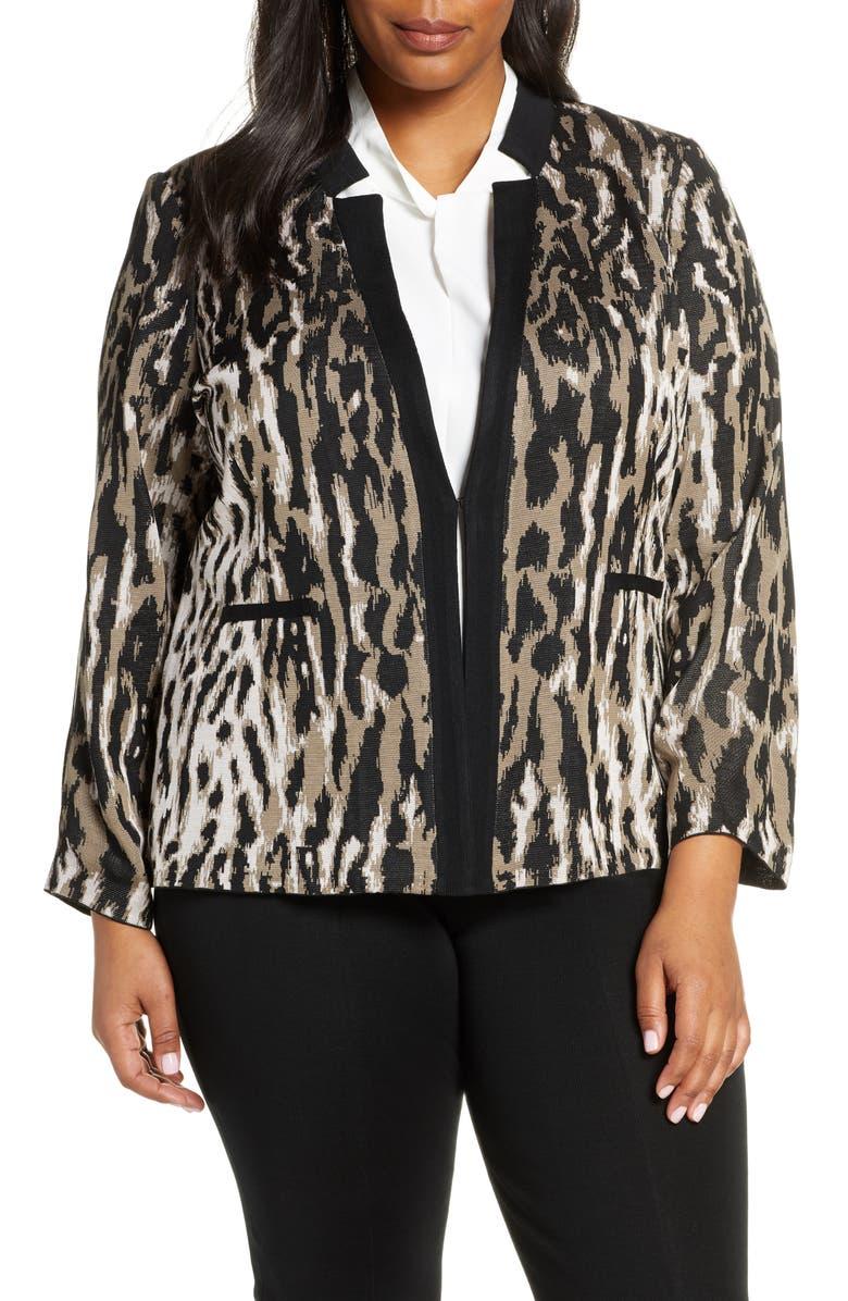 MING WANG Notch Collar Jacquard Cardigan, Main, color, CAPPUCCINO/ BLACK/ PINK SATIN