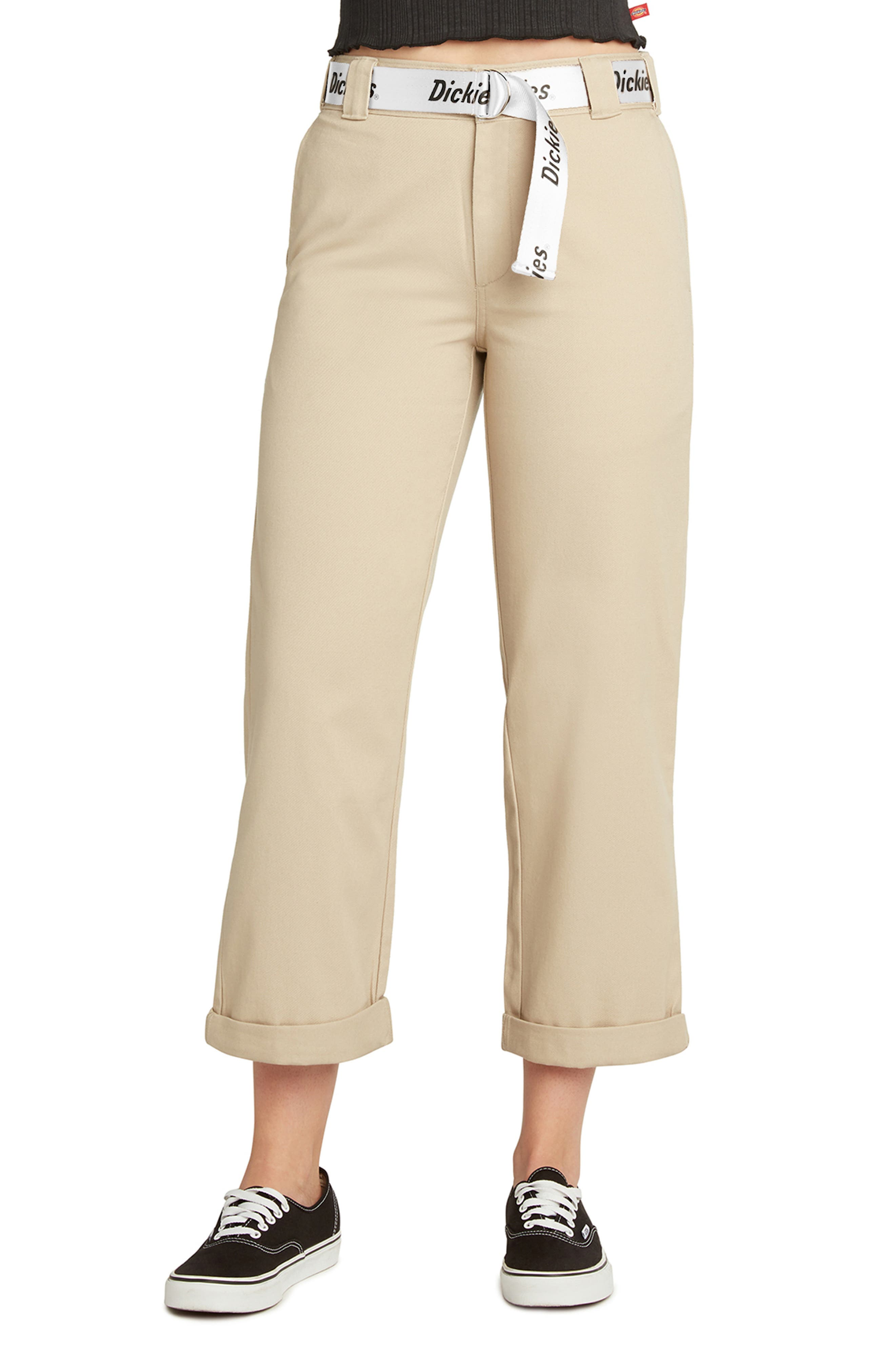 Belted Roll Cuff Work Pants