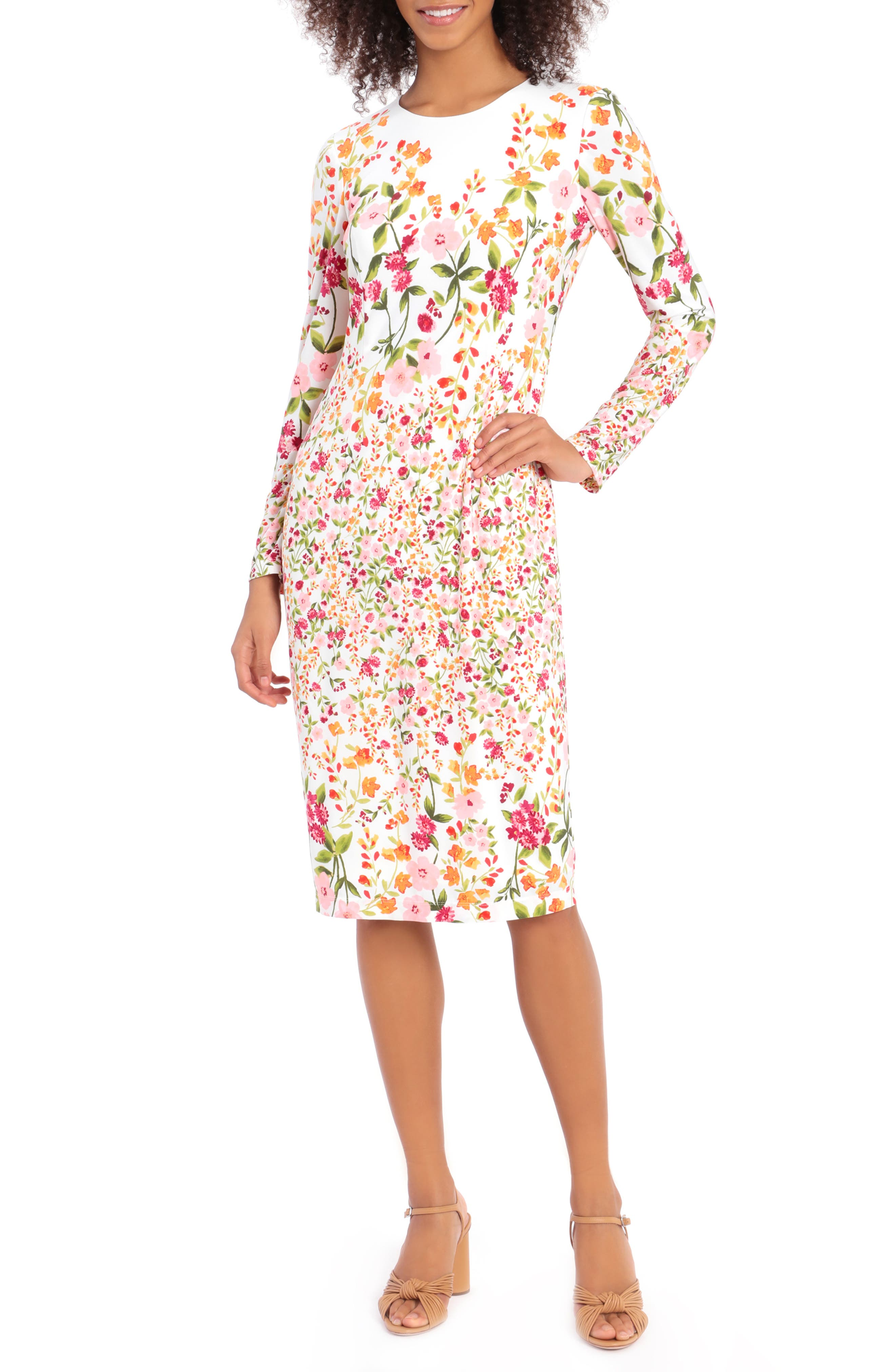 Ity Floral Long Sleeve Jersey Sheath Dress