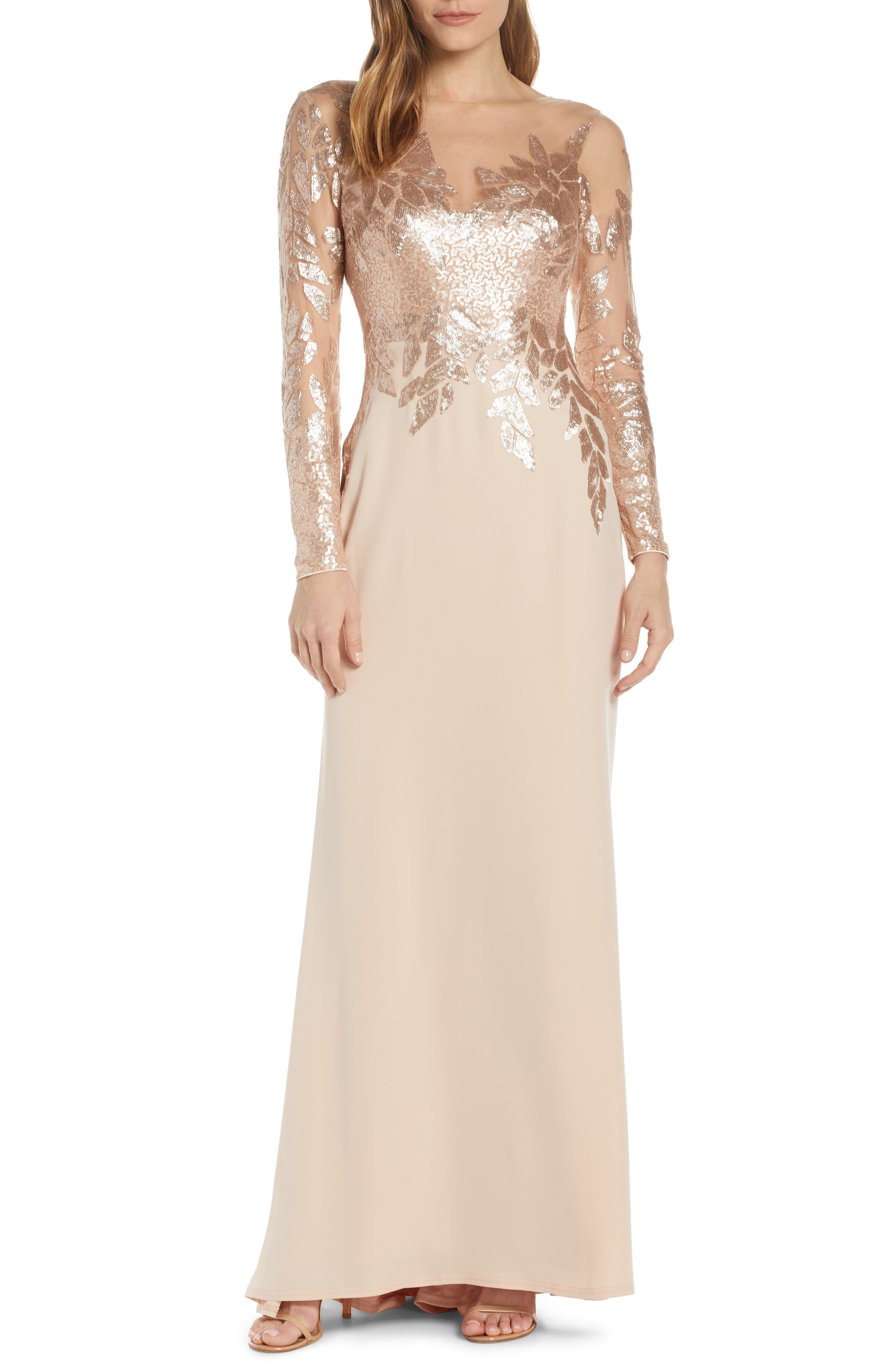 Sequin Embellished Gown, Main, color, CHAMPAGNE