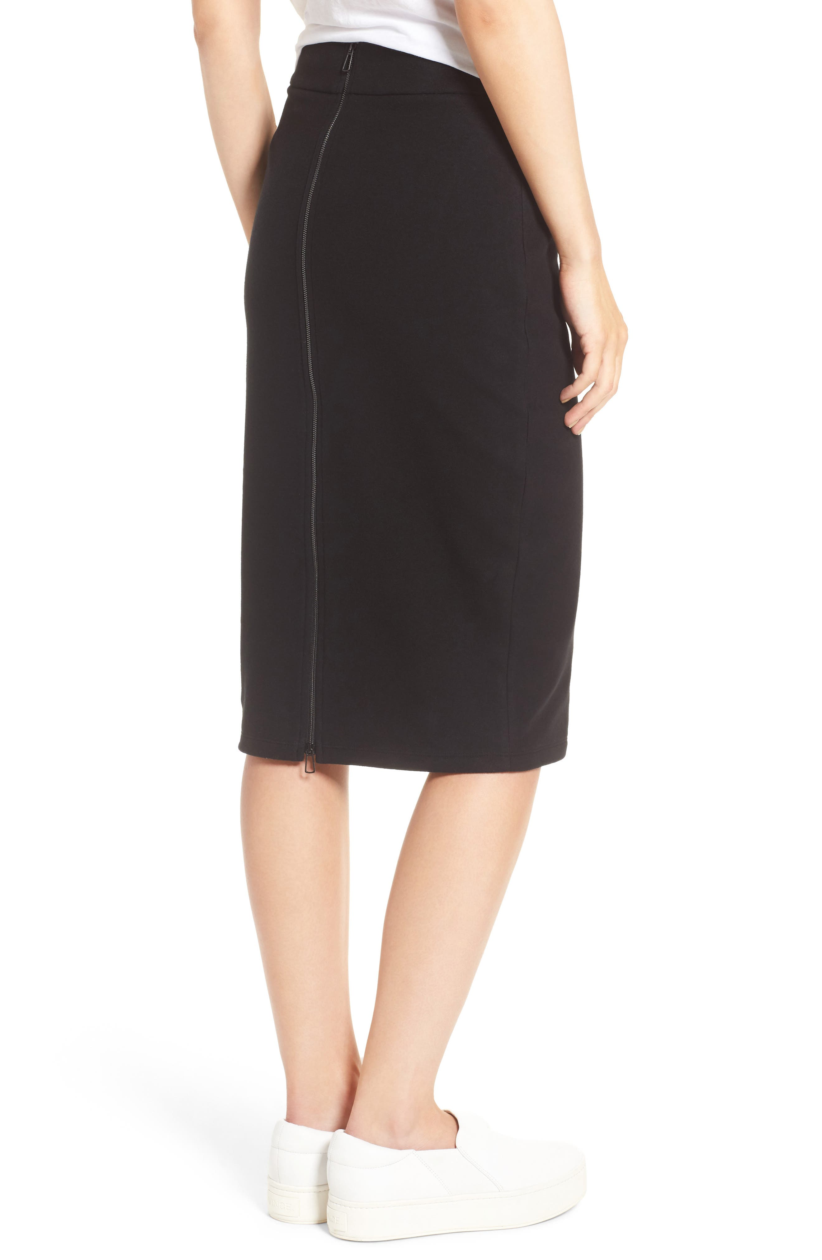 ,                             Moleskin Zip Back Skirt,                             Alternate thumbnail 3, color,                             001