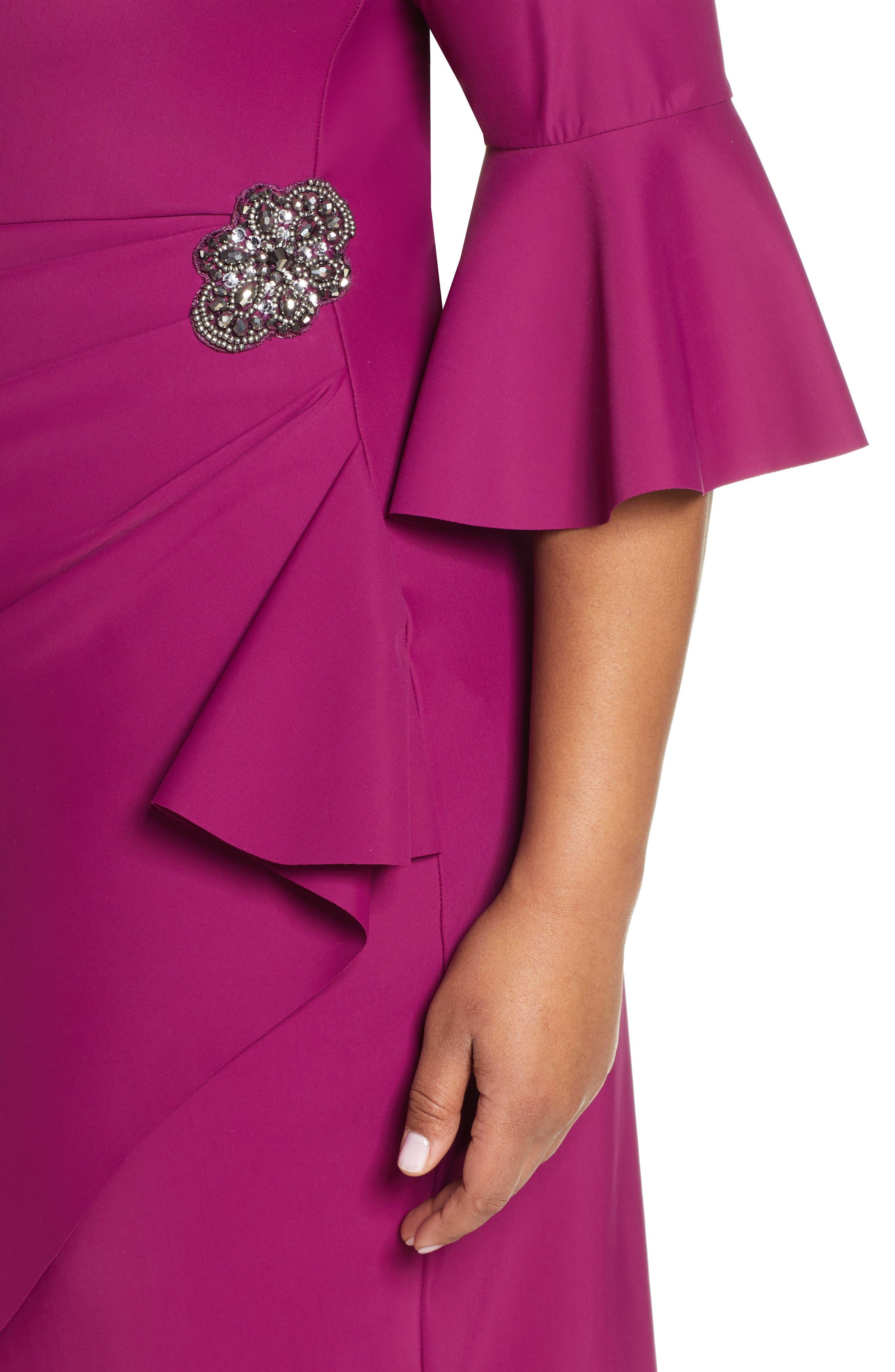 ,                             Bell Sleeve Sheath Dress,                             Alternate thumbnail 5, color,                             PASSION