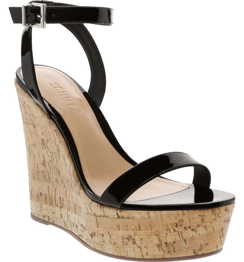 SCHUTZ Eduarda Platform Wedge Sandal, Main, color, BLACK PATENT LEATHER
