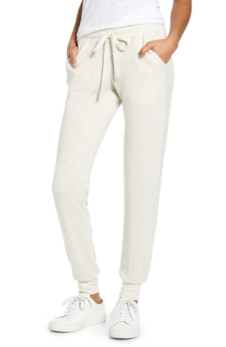 TREASURE & BOND Cozy Jogger Pants, Main, color, BEIGE OATMEAL LIGHT HEATHER