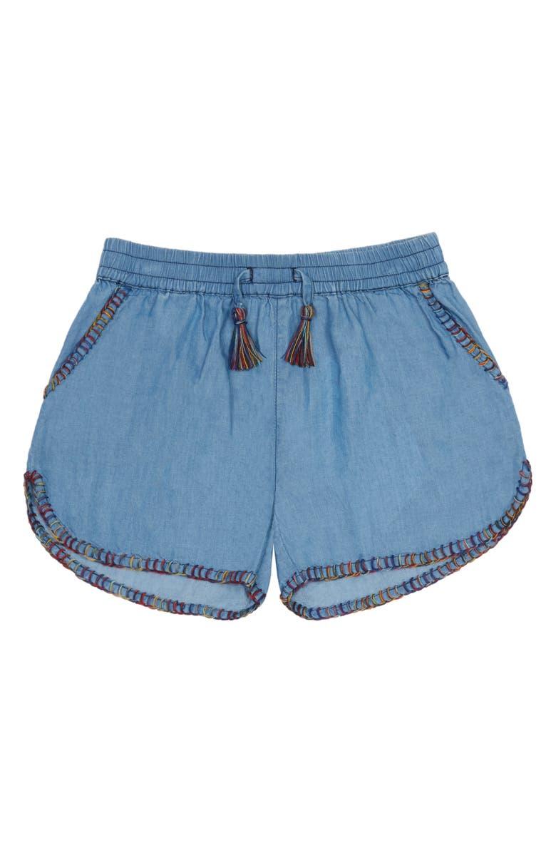 PEEK AREN'T YOU CURIOUS Hannah Chambray Shorts, Main, color, LIGHT DENIM