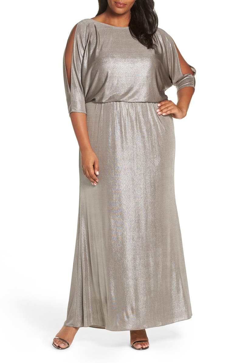 ADRIANNA PAPELL Foiled Jersey Gown, Main, color, 040