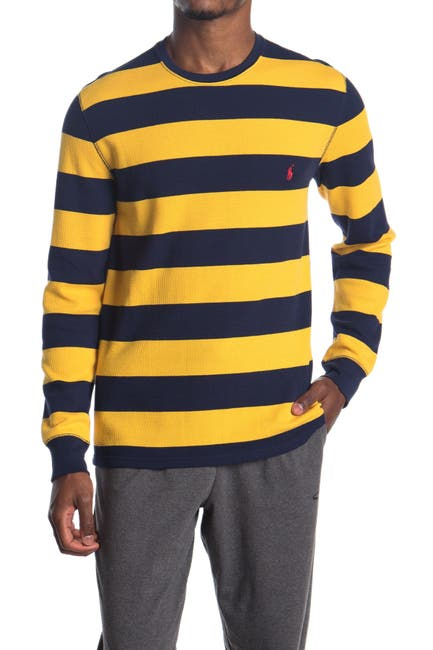 Image of Polo Rugby Stripe Waffle Knit Long Sleeve Sweater