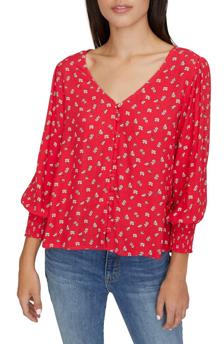 SANCTUARY Harmony Balloon Sleeve Floral Top, Main, color, WILDFLOWER RED