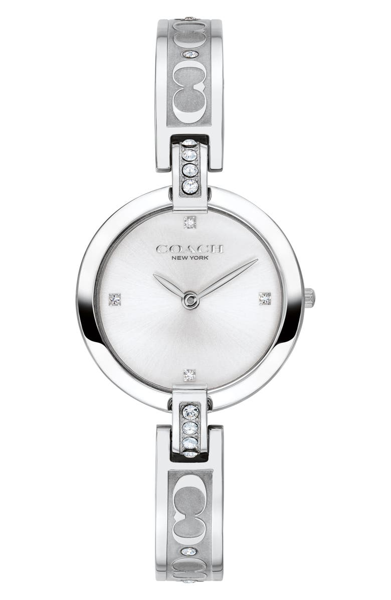 COACH Chrystie Bangle Watch, 26mm, Main, color, SILVER