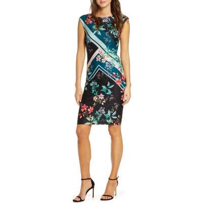 Vince Camuto Floral & Stripe Scuba Crepe Sheath Dress, Blue/green