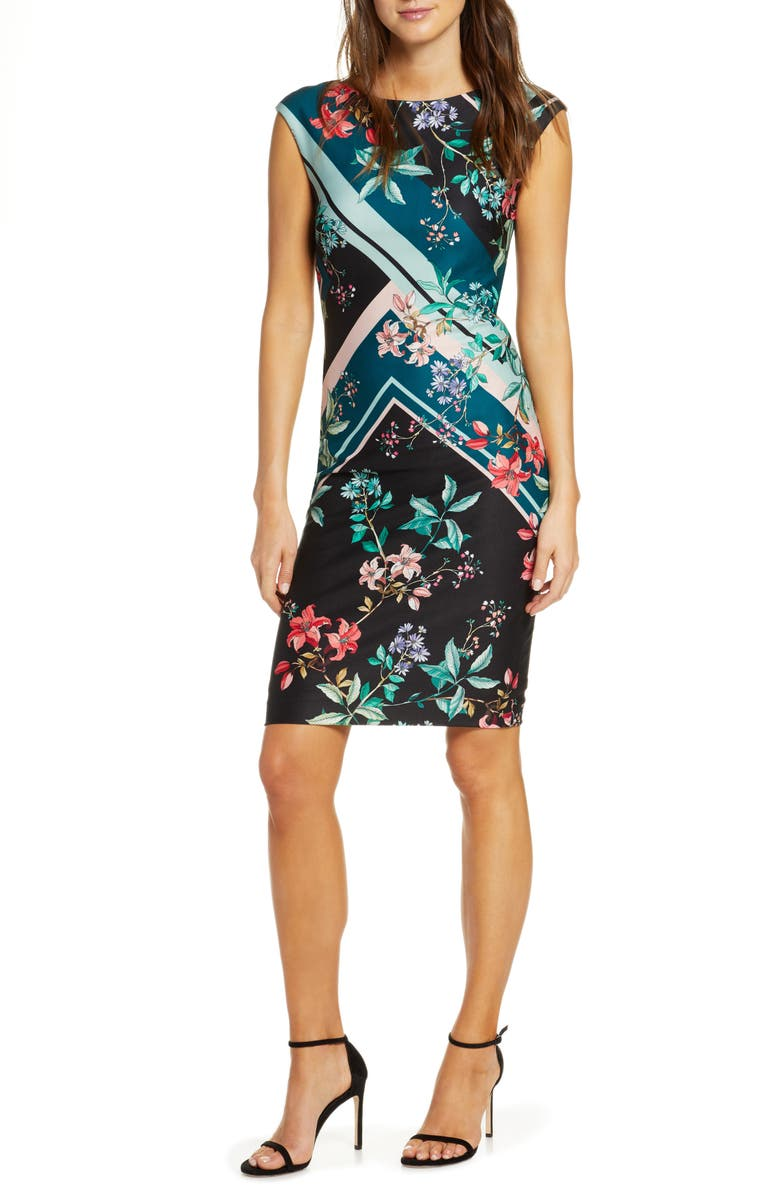 VINCE CAMUTO Floral & Stripe Scuba Crepe Sheath Dress, Main, color, GREEN MULTI