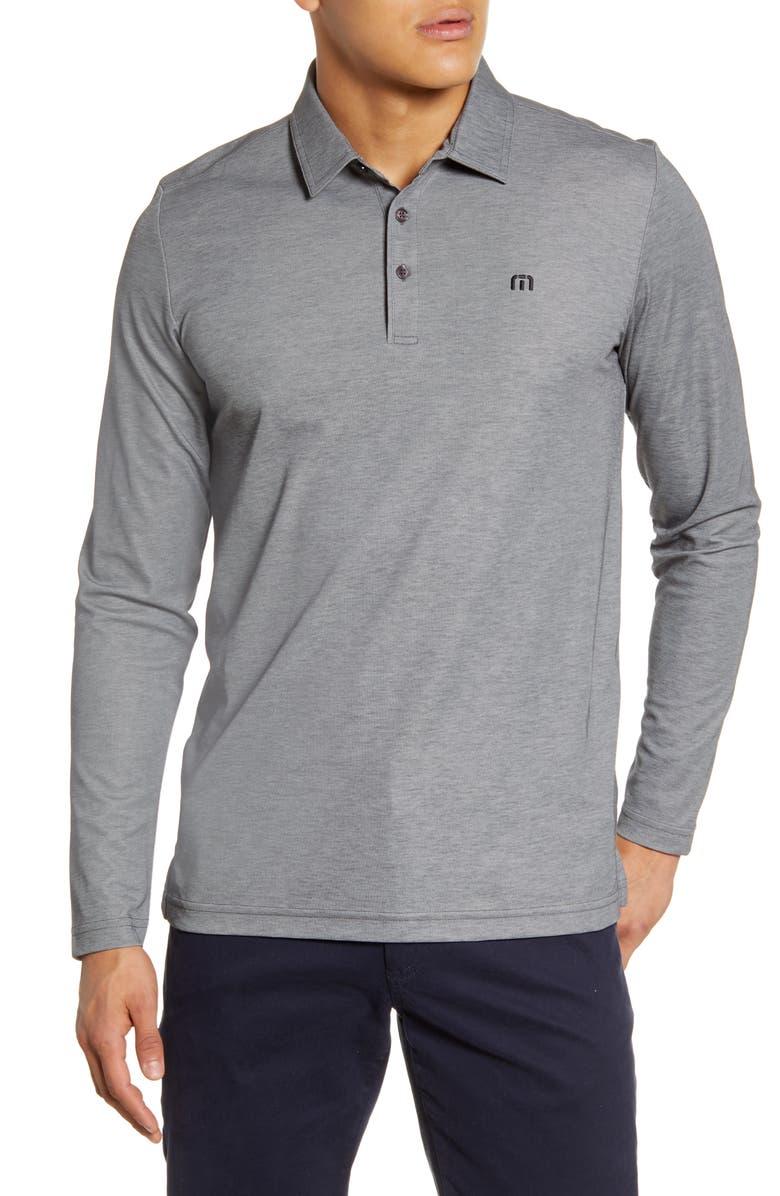 TRAVISMATHEW Roundabout Long Sleeve Polo Shirt, Main, color, GREY PIN/ MICROCHIP