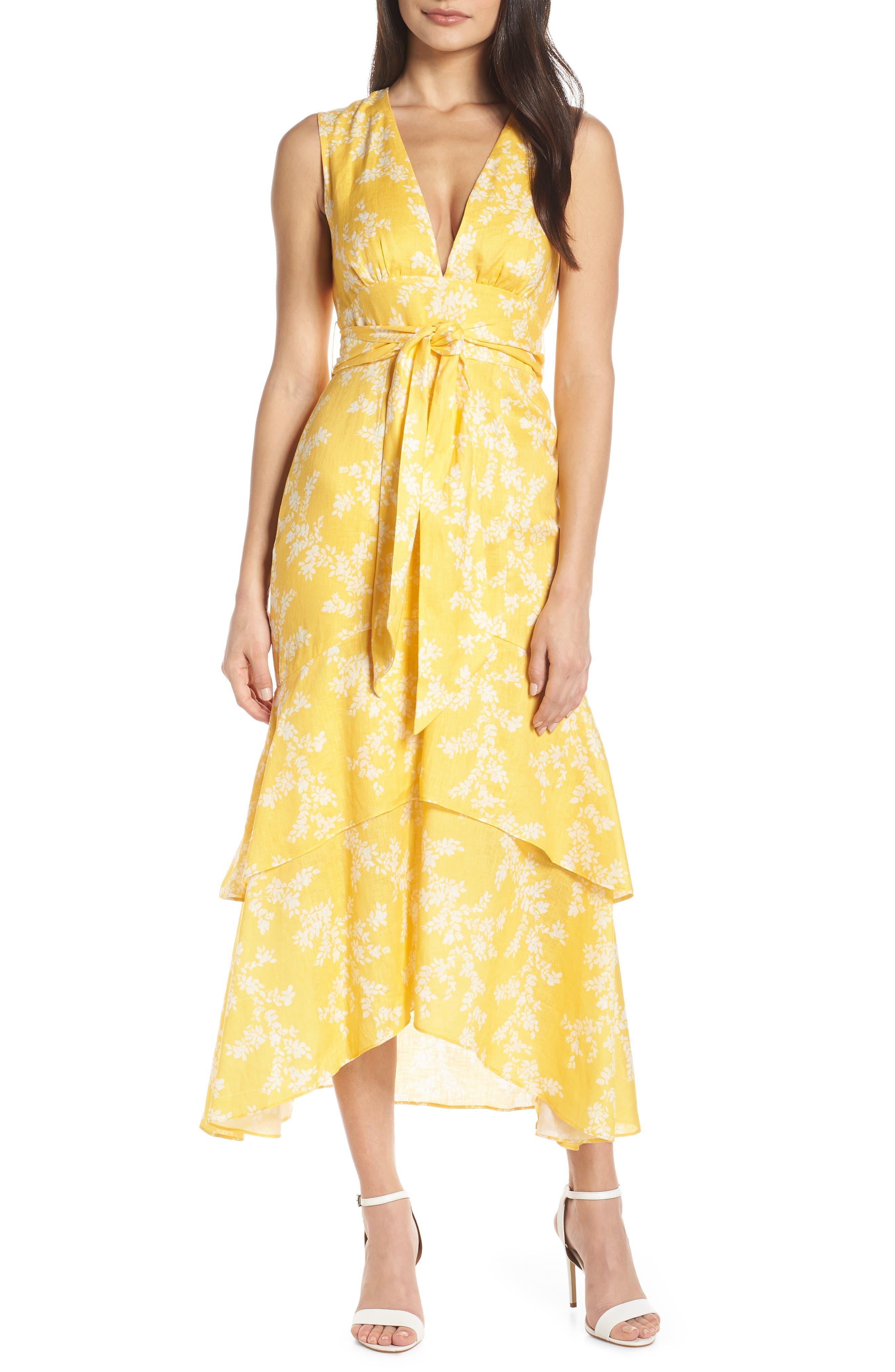 Keepsake The Label Fallen Linen Tea Length Dress, Yellow