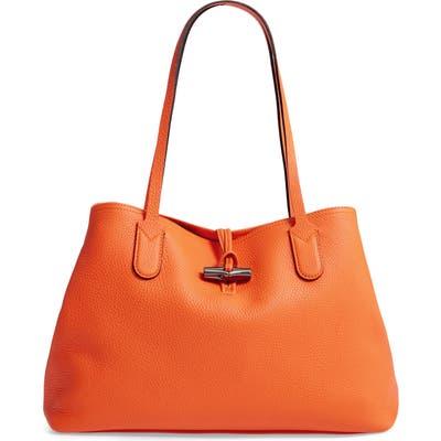 Longchamp Roseau Essential Mid Leather Tote - Orange