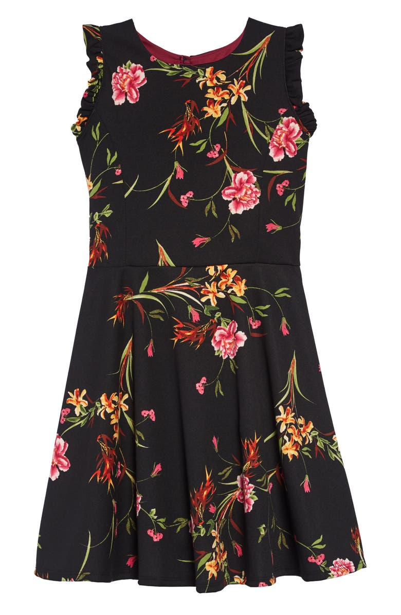 AVA & YELLY Ruffle Sleeve Skater Dress, Main, color, BLACK