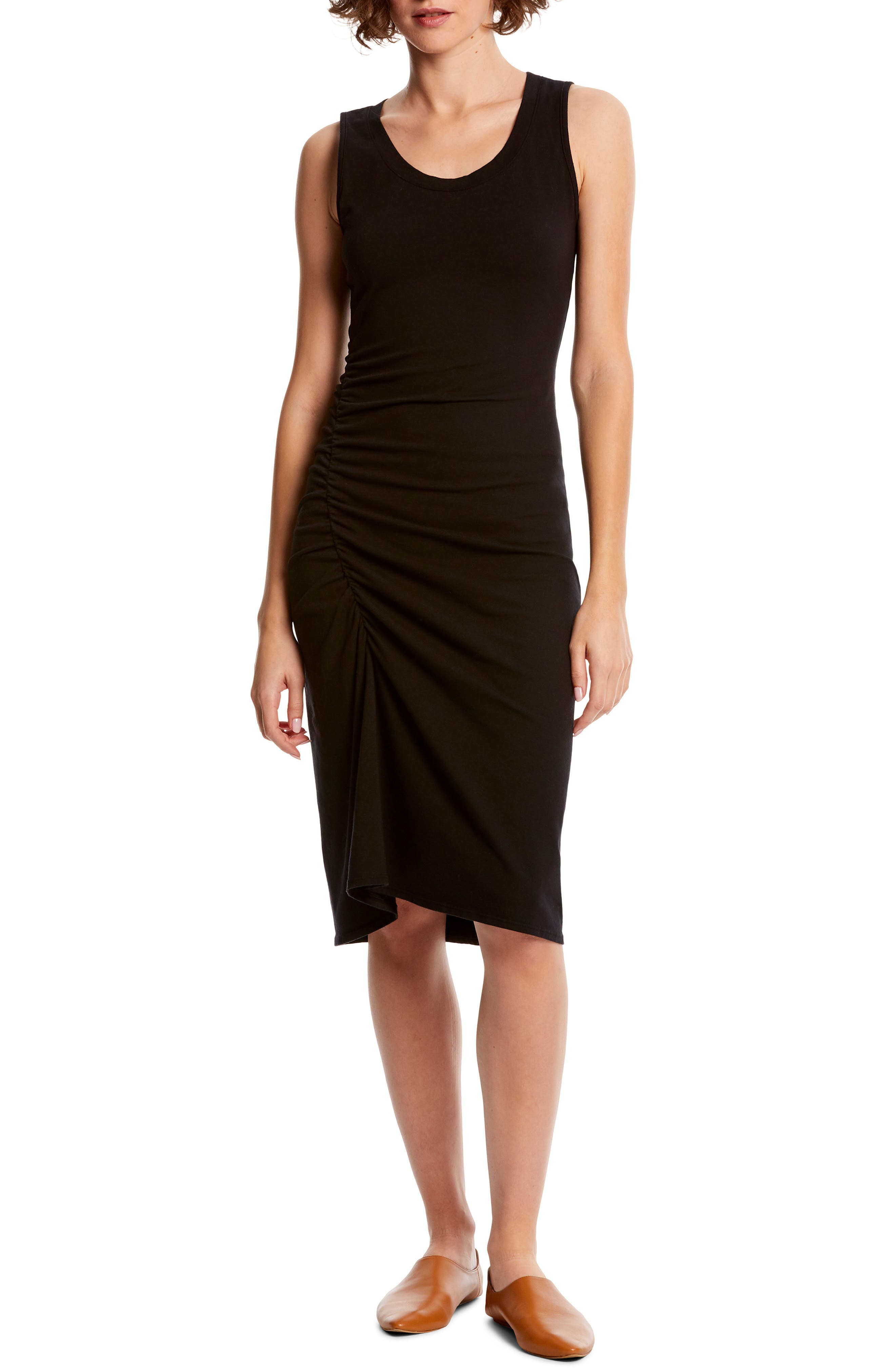 Michael Stars Natalia Ruched Stretch Cotton Tank Dress, Black