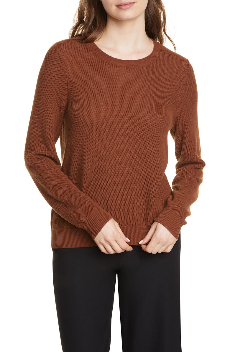 EILEEN FISHER Tencel<sup>®</sup> Lyocell Blend Sweater, Main, color, NUTMEG