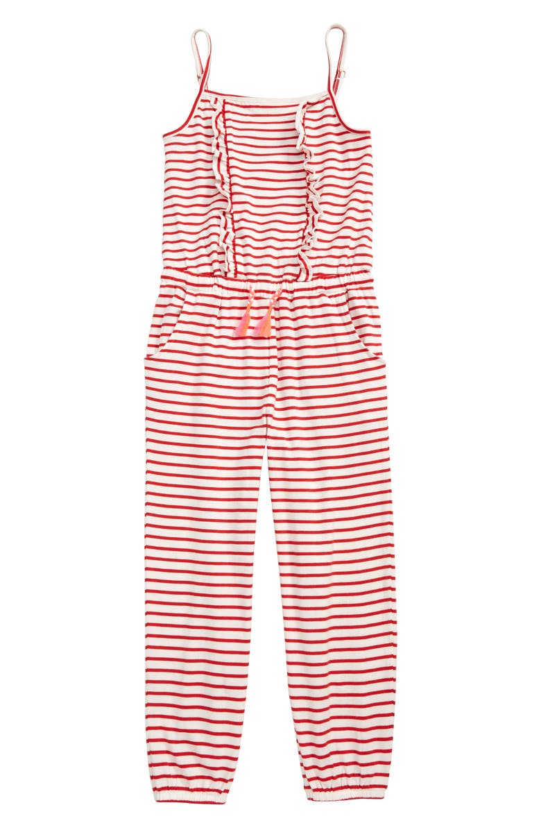 MINI BODEN Print Frill Front Jersey Jumpsuit, Main, color, WHITE/ STRAWBERRY TART RED