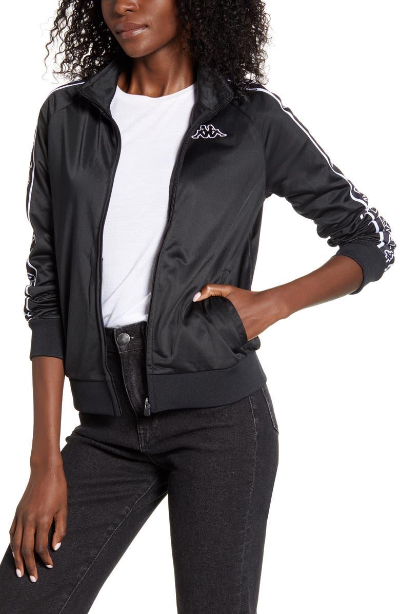 KAPPA Alero Logo Tape Track Jacket, Main, color, BLACK/ BLACK/ WHITE