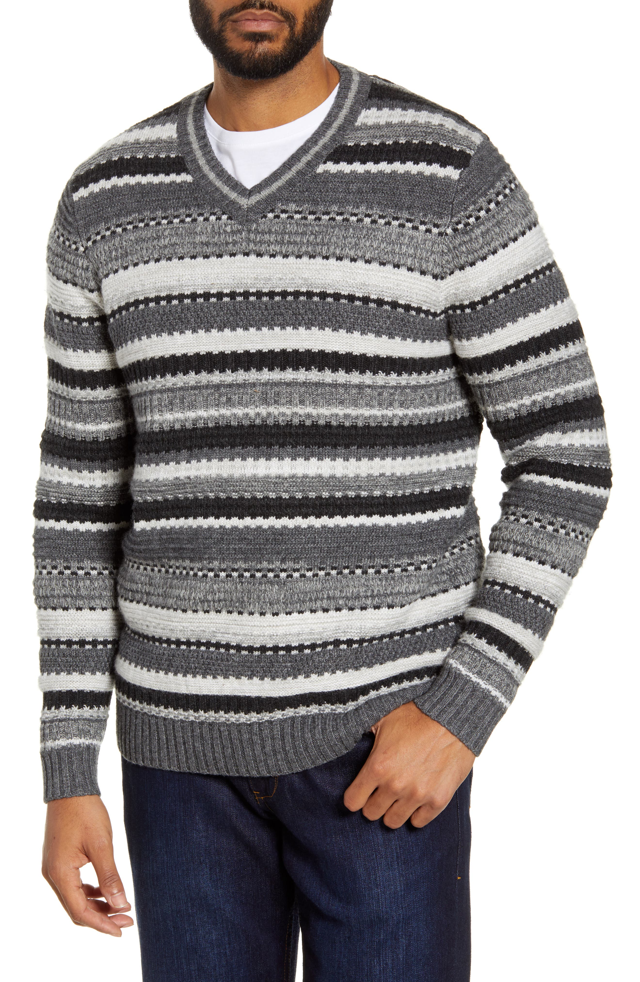 Image of Tommy Bahama Wave Shoal Striped V-Neck Sweater