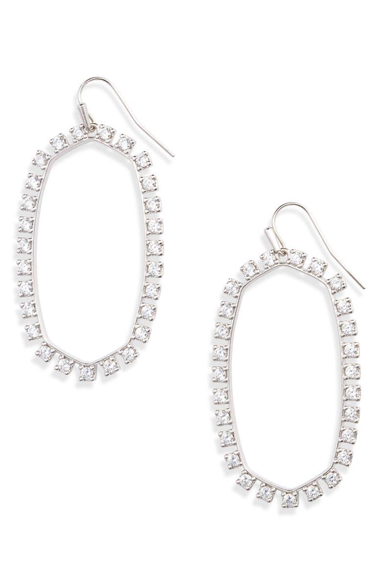KENDRA SCOTT Danielle Open Frame Drop Earrings, Main, color, RHODIUM/ WHITE CZ
