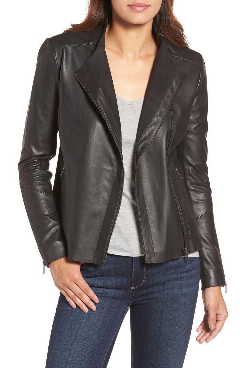 HALOGEN<SUP>®</SUP> Asymmetrical Leather Jacket, Main, color, 001