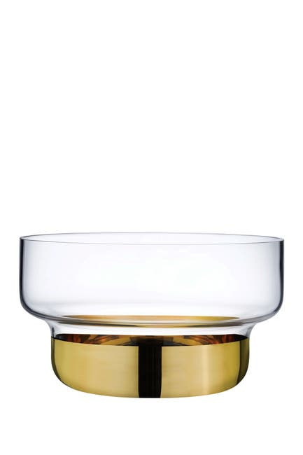 Image of Nude Glass Contour Bowl - Small with Clear Top and Golden Base