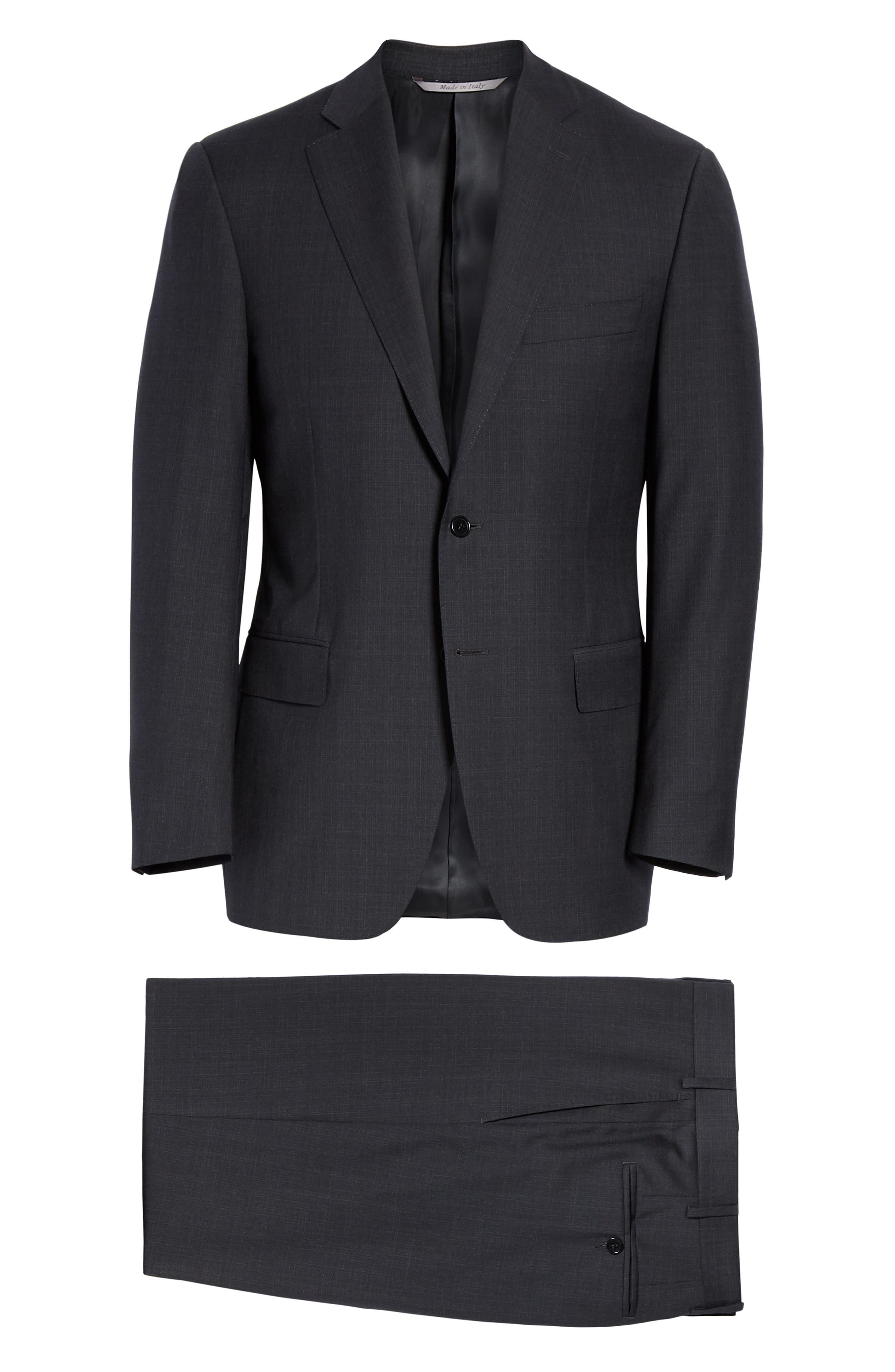 ,                             Siena Classic Fit Solid Super 130s Wool Suit,                             Alternate thumbnail 8, color,                             BLACK