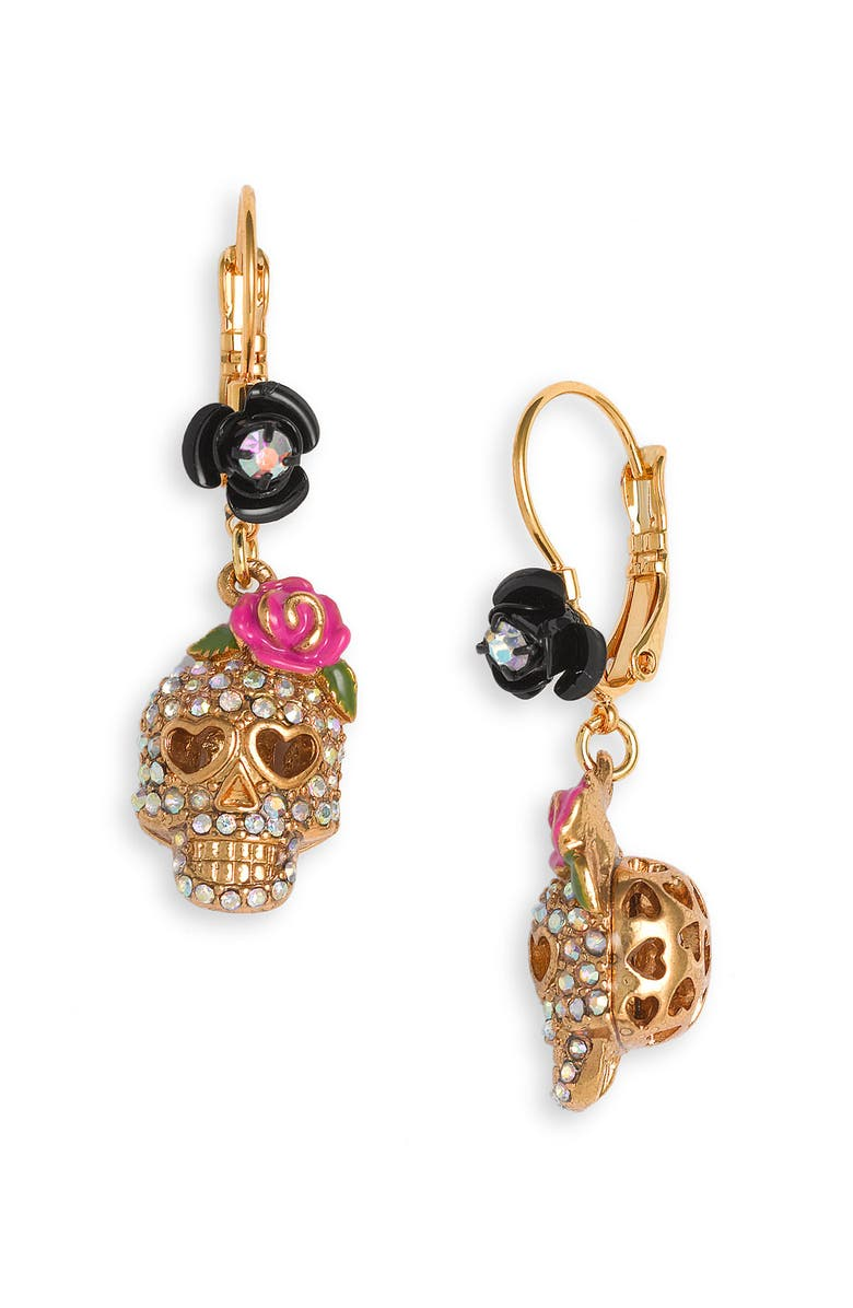 BETSEY JOHNSON 'Crystal Skull' Drop Earrings, Main, color, 710