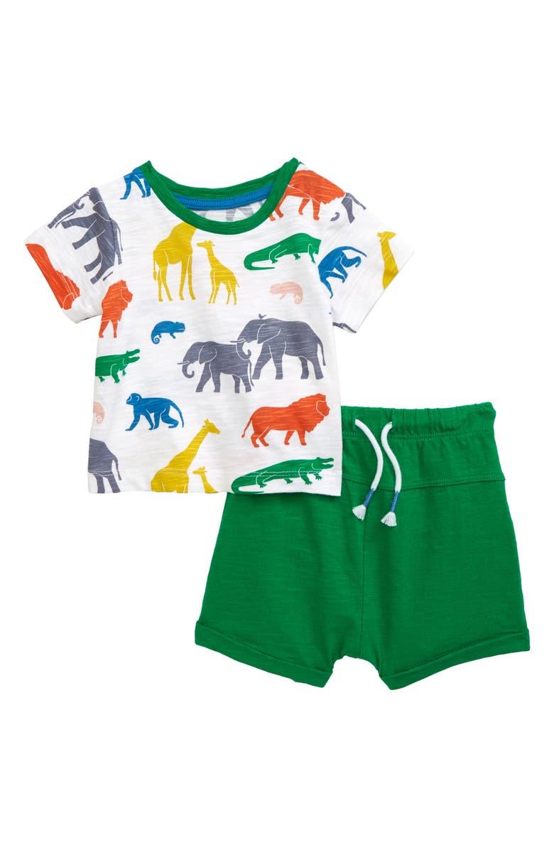 MINI BODEN Safari Graphic Tee & Shorts Set, Main, color, 115