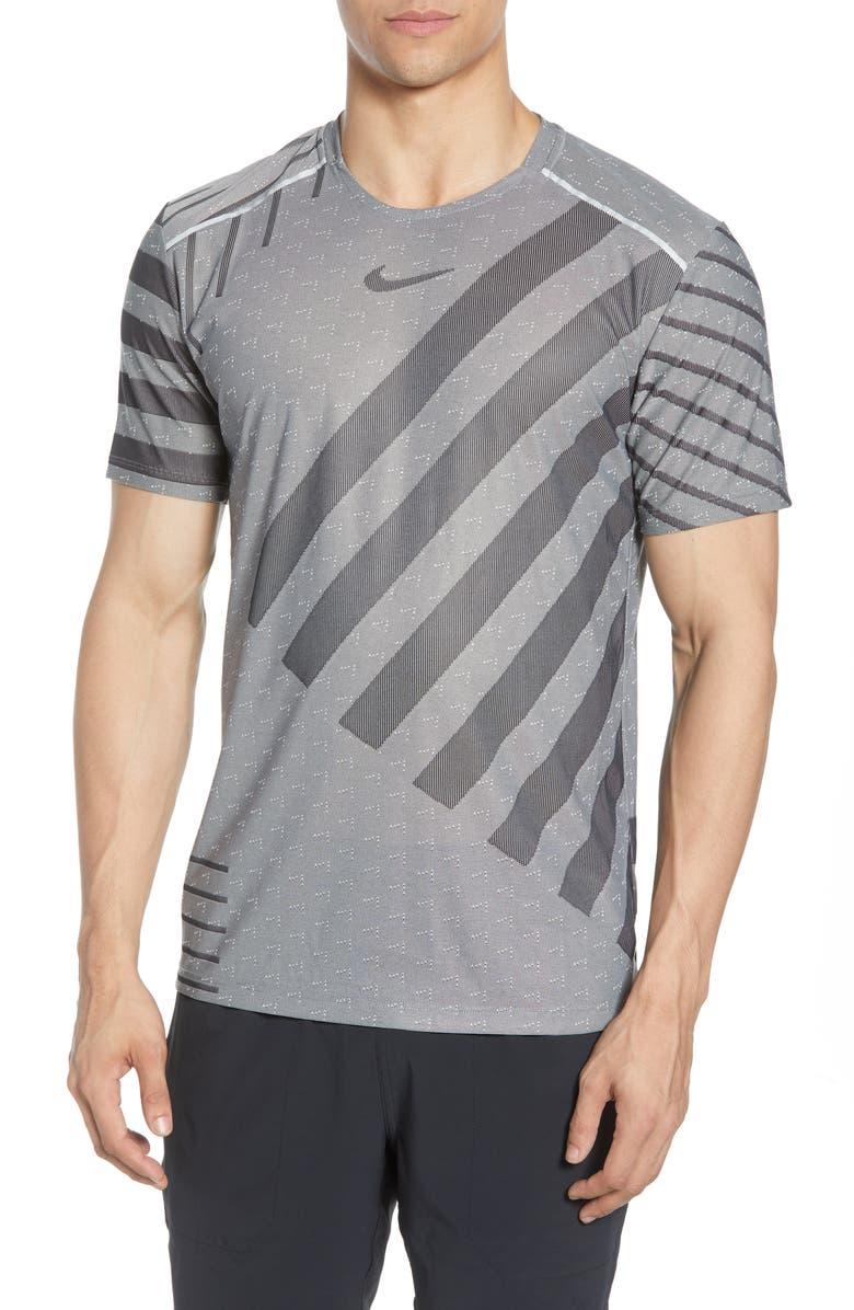 NIKE Tech Knit T-Shirt, Main, color, GREY FOG/ BLACK/ SILVER