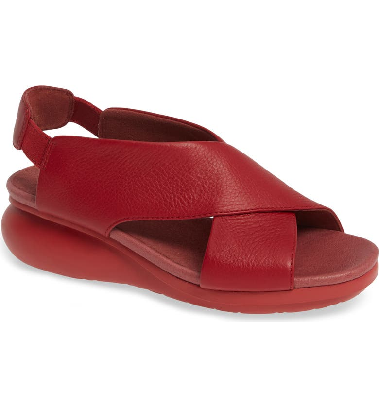 CAMPER Balloon Slingback Wedge Sandal, Main, color, RED/ RED LEATHER