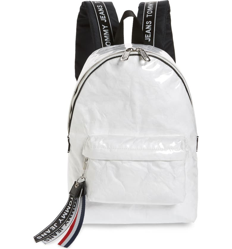 TOMMY JEANS Logo Tape Coated Backpack, Main, color, BRIGHT WHITE