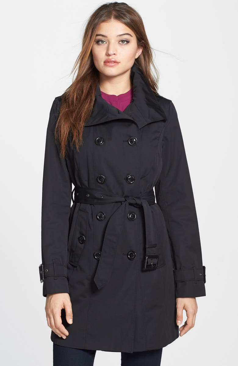 LONDON FOG Double Breasted Trench Coat with Detachable Liner, Main, color, 001