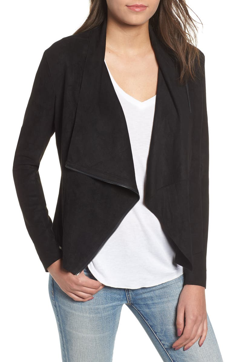BLANKNYC Faux Suede Drape Front Jacket, Main, color, BLACK