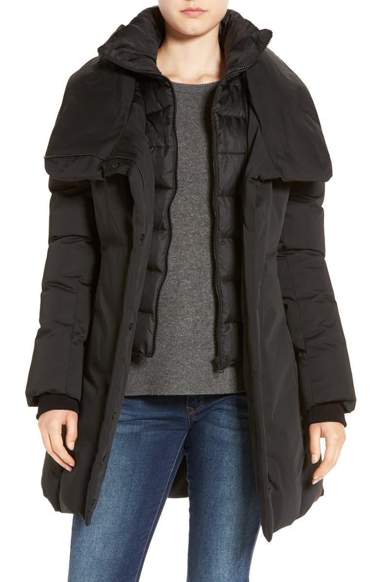 SOIA & KYO Water Resistant Hooded Down Walking Coat, Main, color, 001