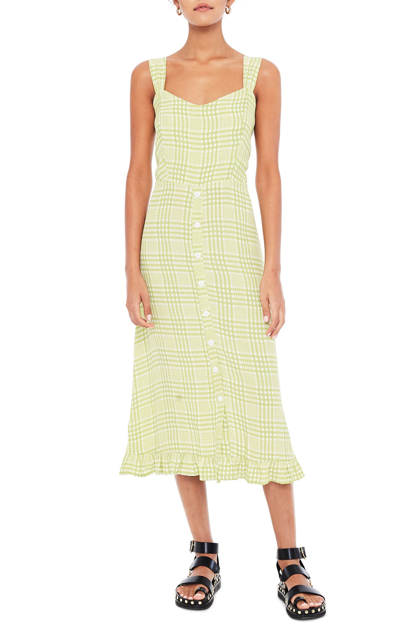 Faithfull The Brand Yasmin Plaid Midi Dress, Green