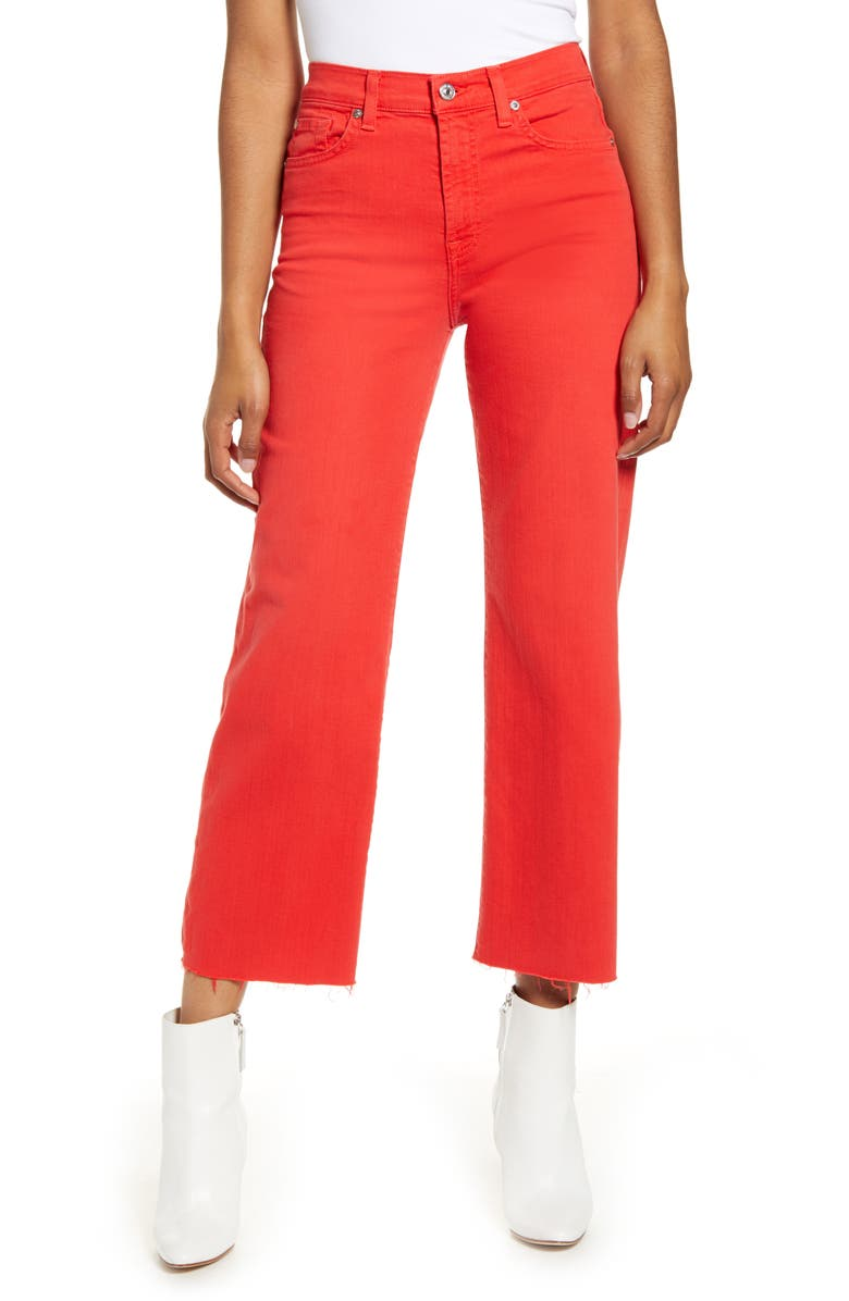 7 FOR ALL MANKIND<SUP>®</SUP> Alexa High Waist Crop Wide Leg Jeans, Main, color, BRILLIANT RED