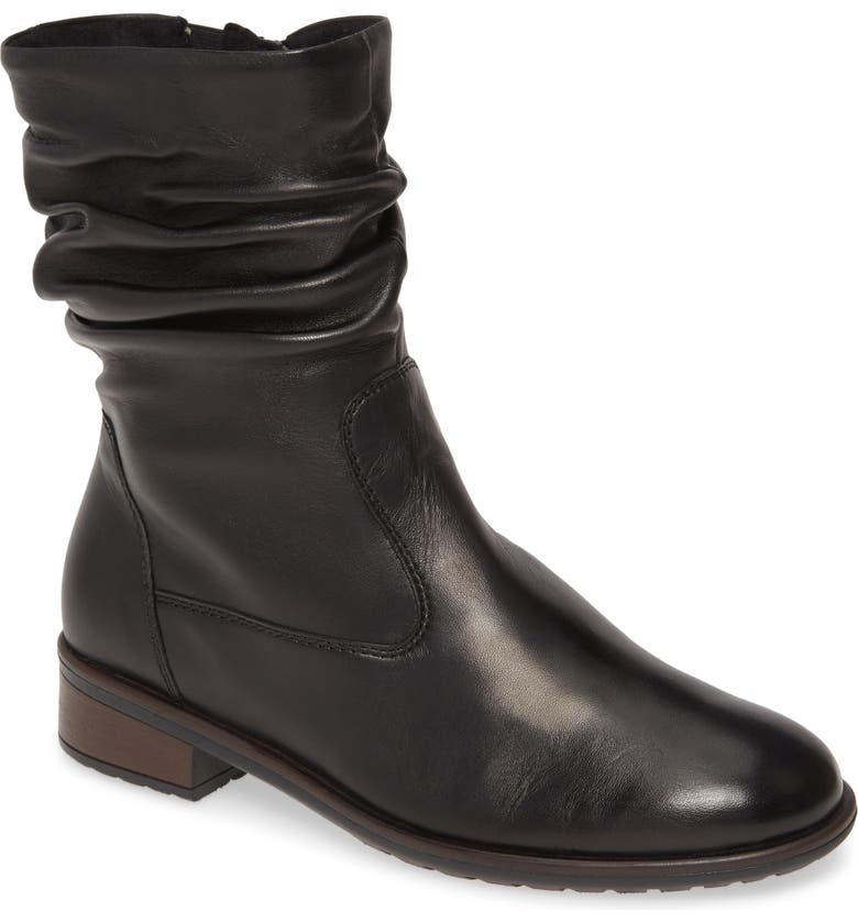 ARA Lexi Slouch Cuff Bootie, Main, color, BLACK LEATHER